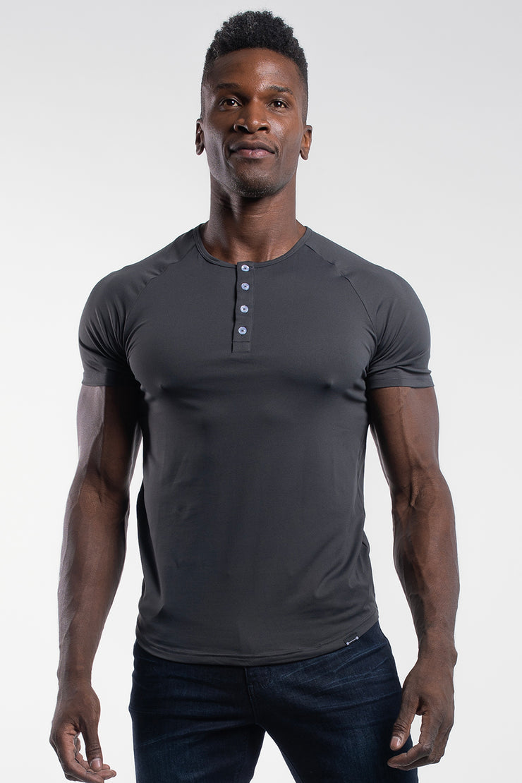 Scout Short Sleeve Henley in Charcoal