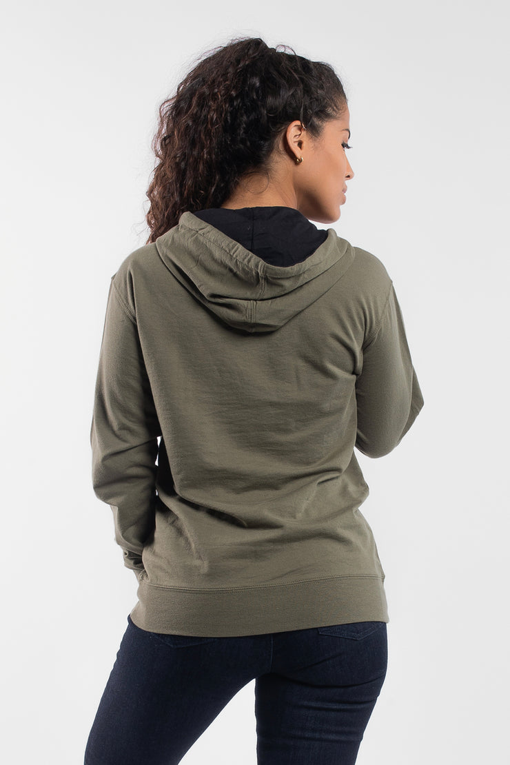 Barbell Hoodie in OD Green - Womens - image no.2