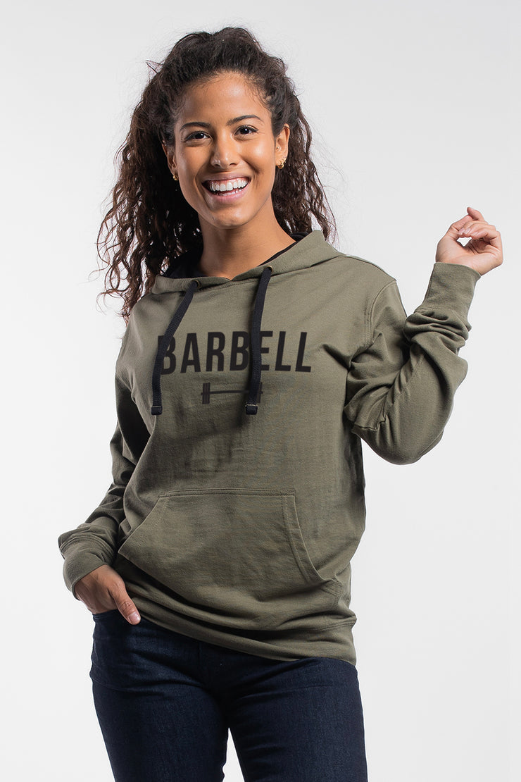"""Barbell"" Hoodie in OD Green - Women's"