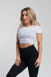Barbell Crop Tee in White