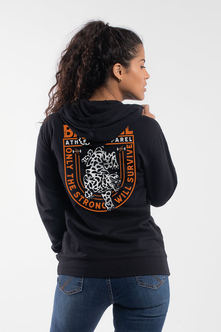 The Leopard Hoodie in Black - Womens - image no.2