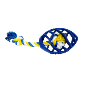 Rubber Football Chew Toy with Tug Rope