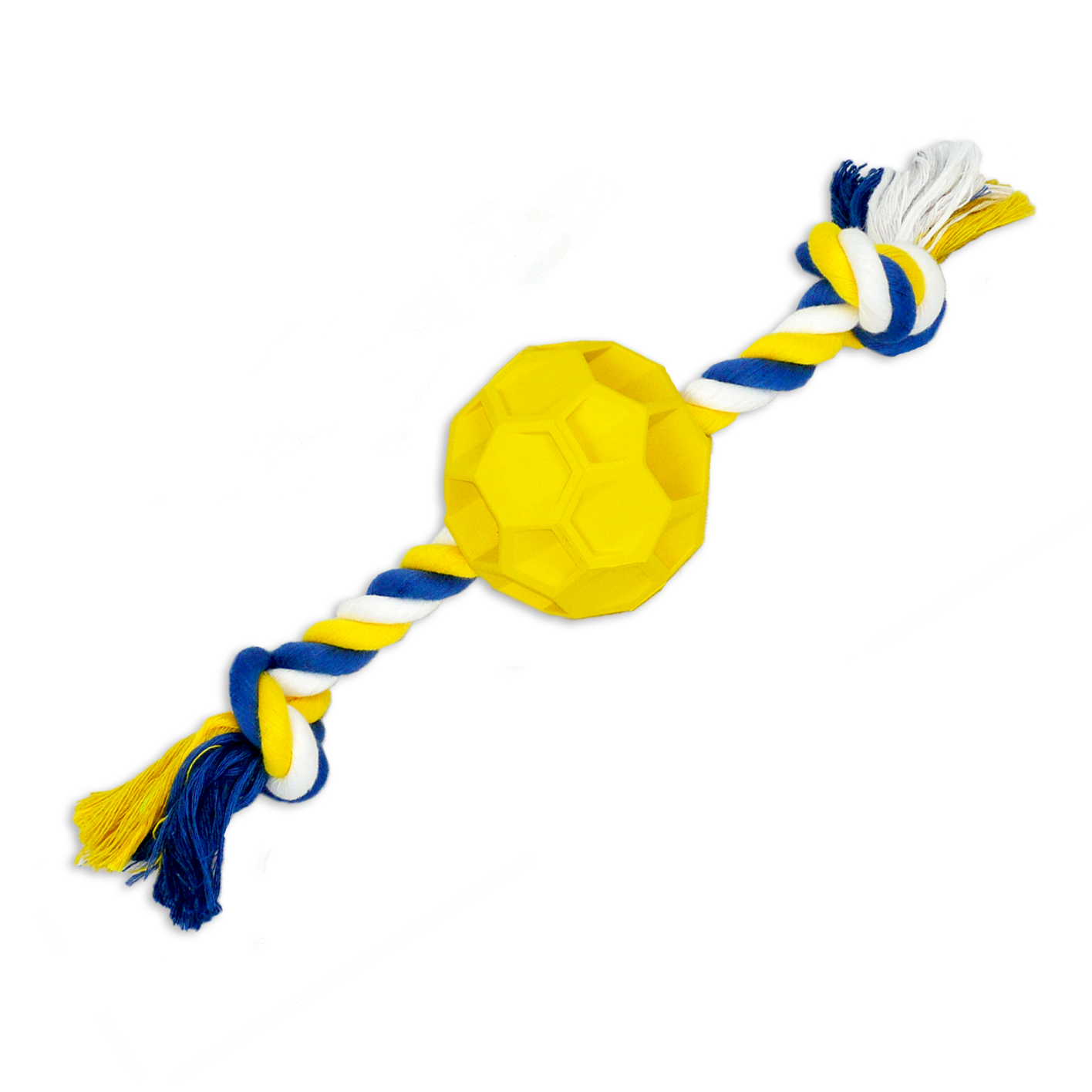 Rubber Soccer Ball Chew Toy with Tug Rope