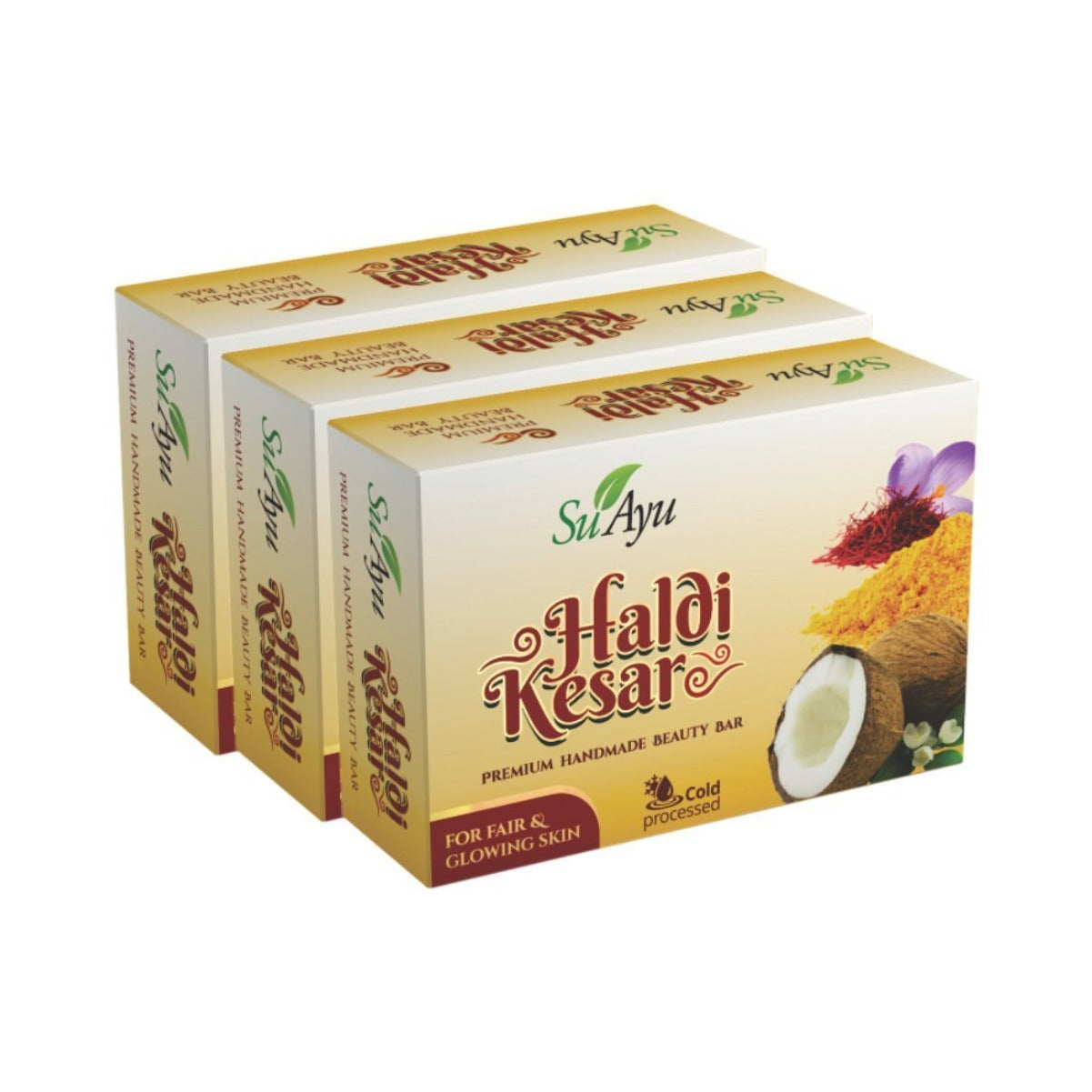 SuAyu Haldi Kesar Soap | (Pack of 3, 5, 10, 20) at lowest price