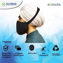 Load image into Gallery viewer, The Khalsa Mask (Navy Blue) 555 Offer - 5 Masks + 5 Sanitisers + 5 Anti-Bacterial Wipes Boxes (5x10 Wipes)