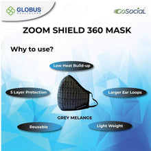 Load image into Gallery viewer, Cotton Mask (5-Layer)  ZOOM 360 Grey Melange- Pack of 1