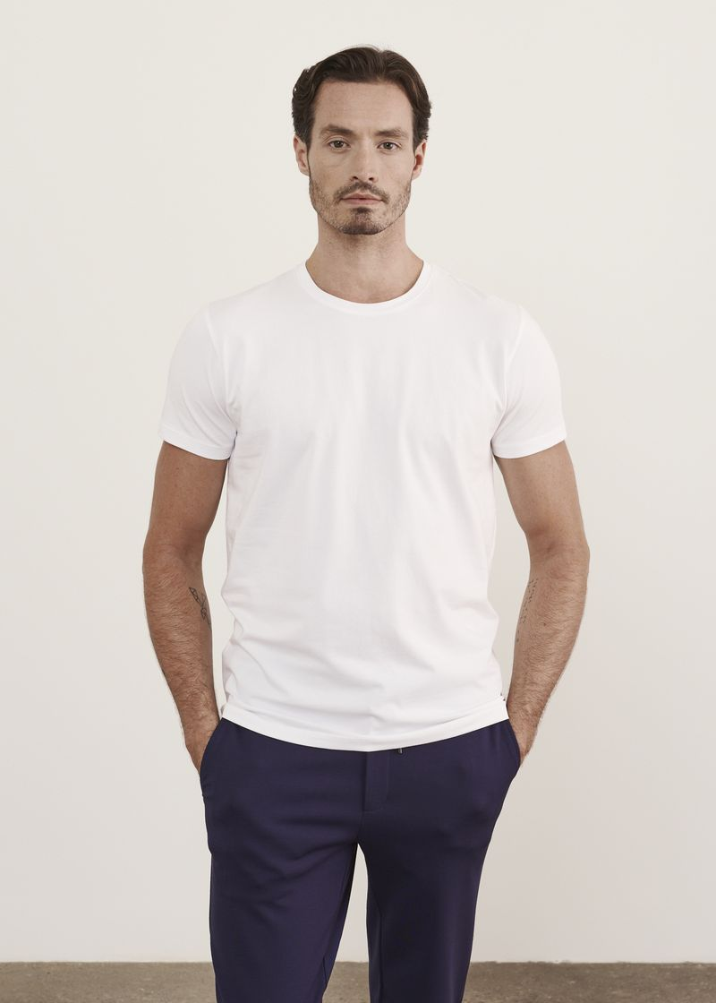 Patrick Assaraf Iconic Pima Cotton Stretch T-Shirt in White
