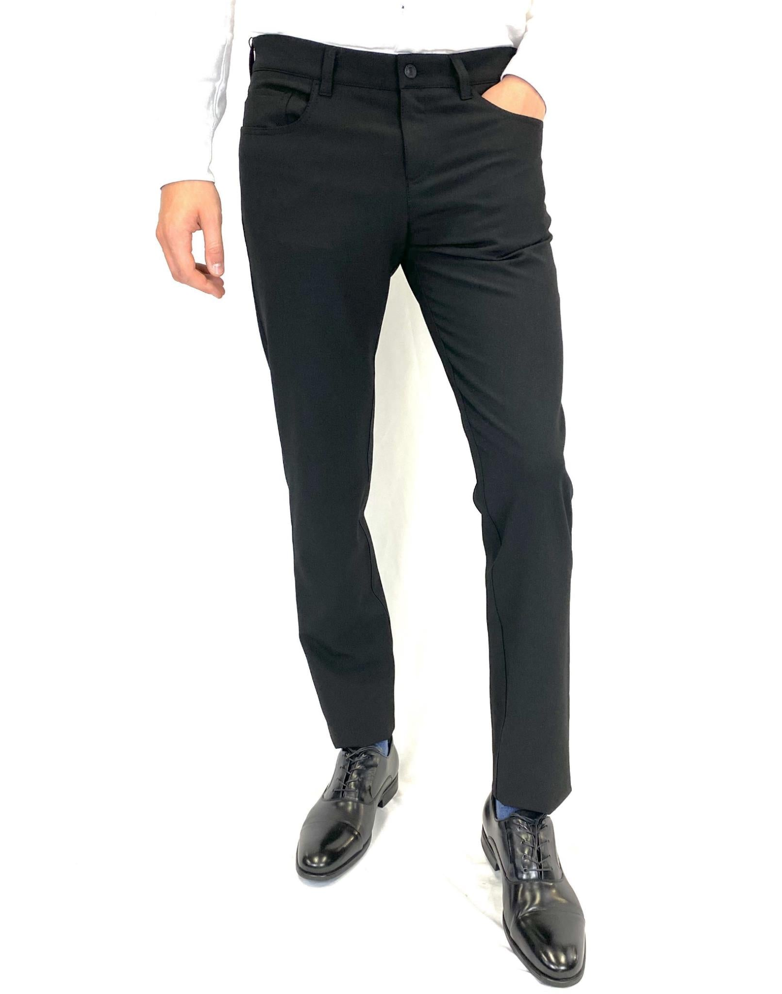 Alberto Pipe Slim Fit 5-Pocket Pants in Black