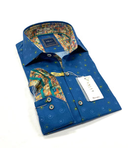 Oxley Long Sleeve Sport Shirt in Blue Pattern