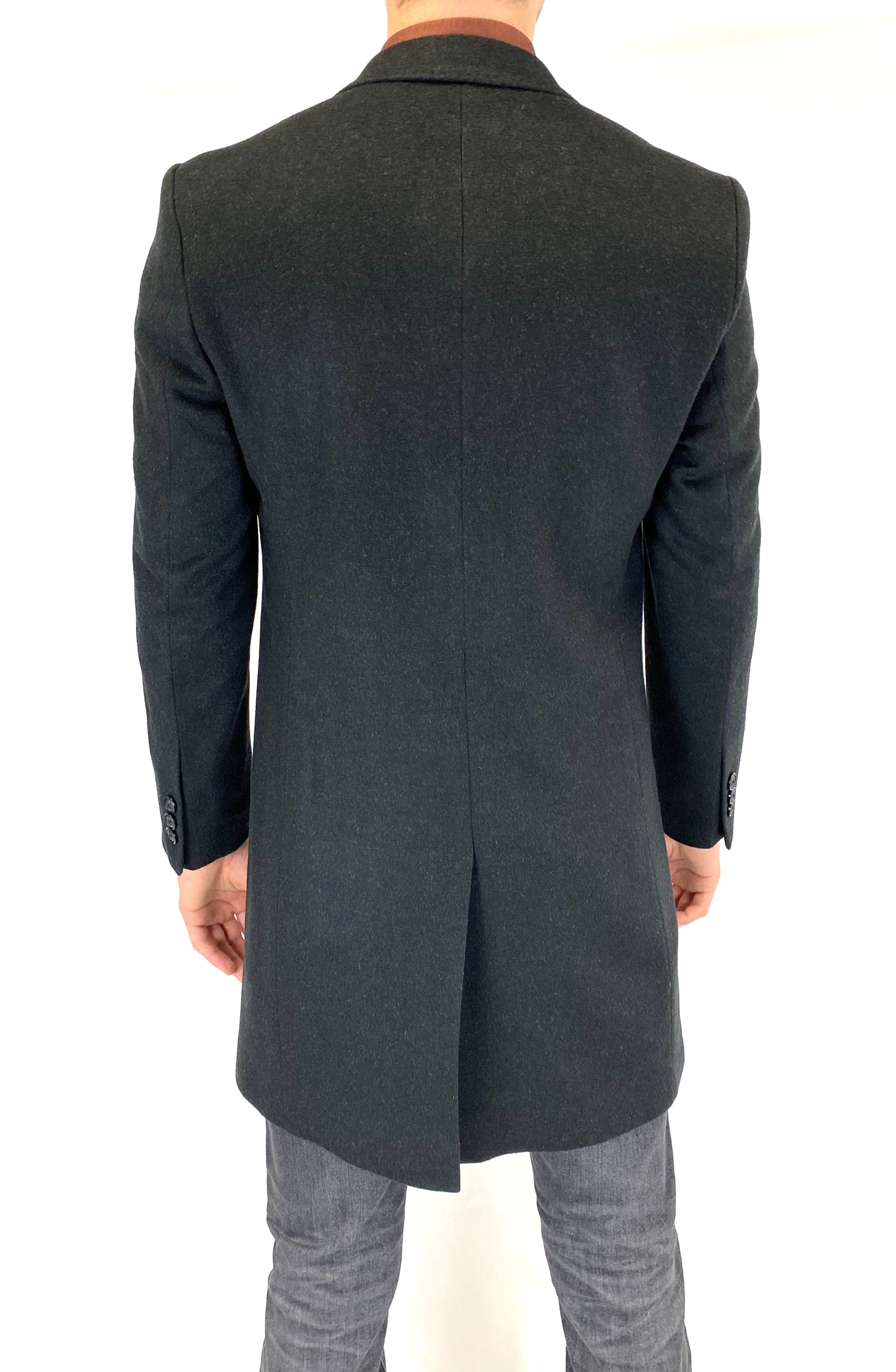 Sergio Barone Wool & Cashmere Overcoat in Charcoal
