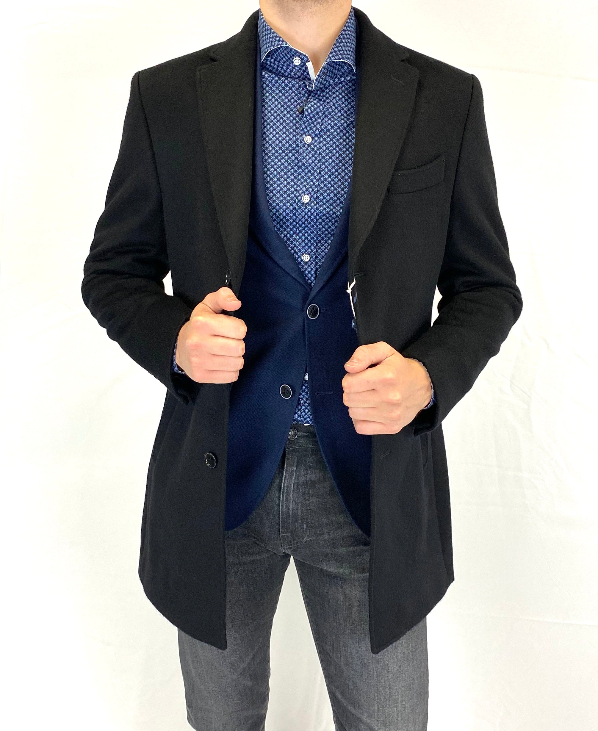 Sergio Barone Wool & Cashmere Overcoat in Black