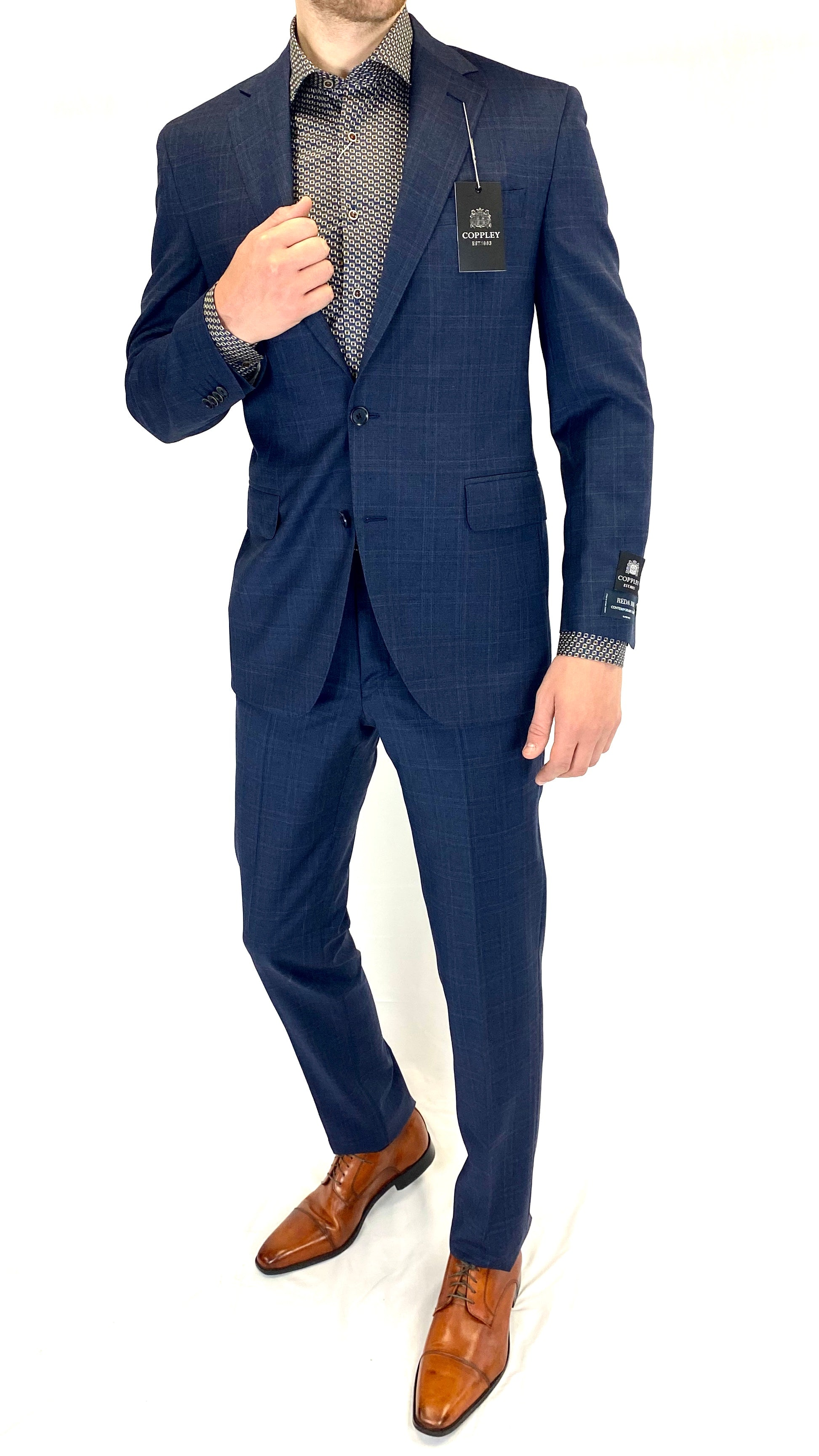 Coppley Modern Fit Windowpane Suit in Navy