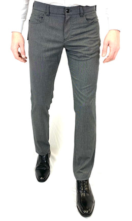 Alberto Pipe Slim Fit 5-Pocket Pant in Grey Texture