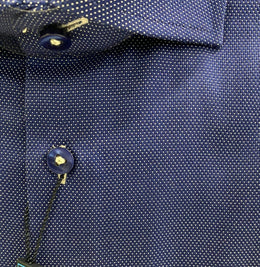 Polifroni Blu Dress Shirt Micro Print in Navy