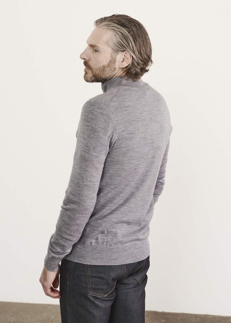 Patrick Assaraf Merino Wool Full Zip in Heather Grey
