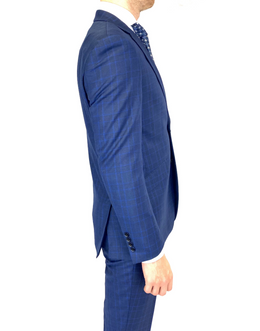 Renoir Slim Fit Suit in Blue Window Pane Check