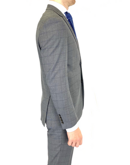 Renoir Slim Fit Suit in Grey/Blue Window Pane Check