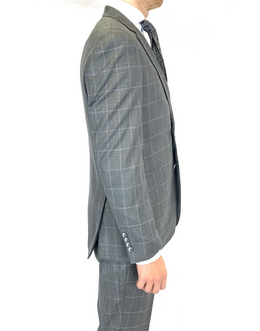 Renoir Slim Fit Suit in Grey/Pink in Window Pane Check