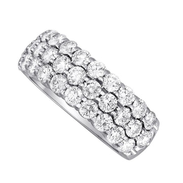 14K white gold triple row pave set Diamond Band-2.03ctw