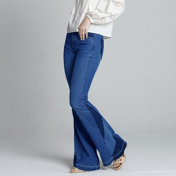 Patchwork Insert Released Hem Flare Jeans