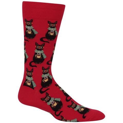 Coffee Cat (Red) Men's Crew Socks