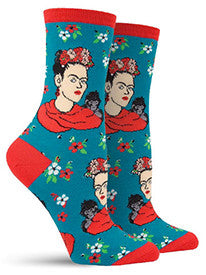 Frida Portarit (Peacock Blue) Women's Crew Socks