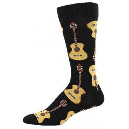 Acoustic Guitar (Black) King Size Men's Socks