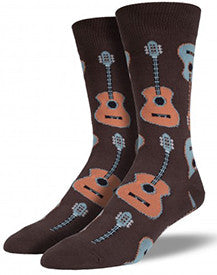 Acoustic Guitar (Brown) Men's Crew Socks
