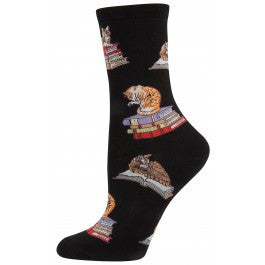 Cats on Books Women's Crew Socks