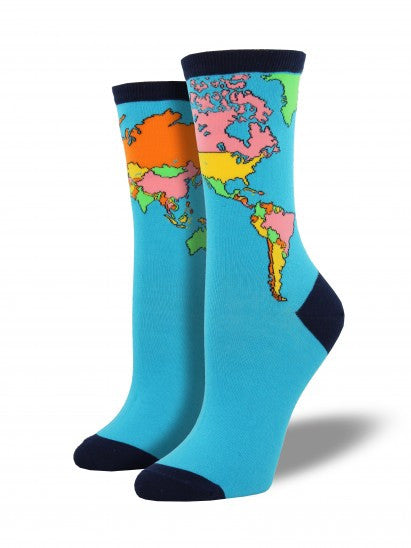 b68c7bc831e90 Women's World Map Crew Socks – The Sock Shack in Portland Maine