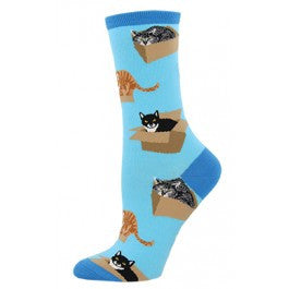 Cat in a Box (Azure) Women's Crew Sock