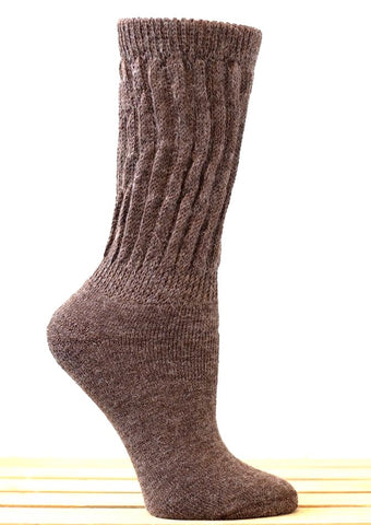 Solid Rib (Brown-Large) Alpaca Comfort Cuff Crew Socks