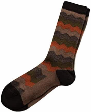 Mountain Stripe (Brown- Medium) Alpaca Crew Socks