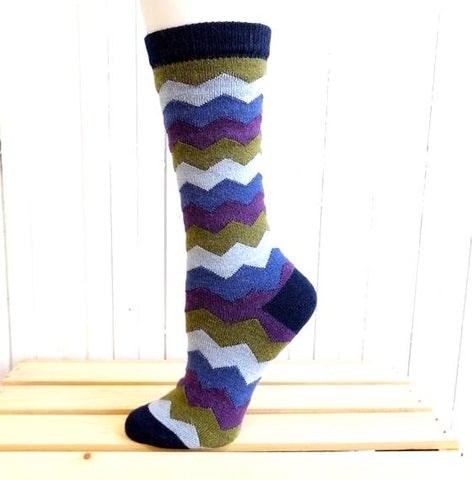 Mountain Stripe (Navy) Alpaca Crew Socks