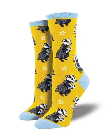 Bashful Badger (Yellow) Women's Crew Socks