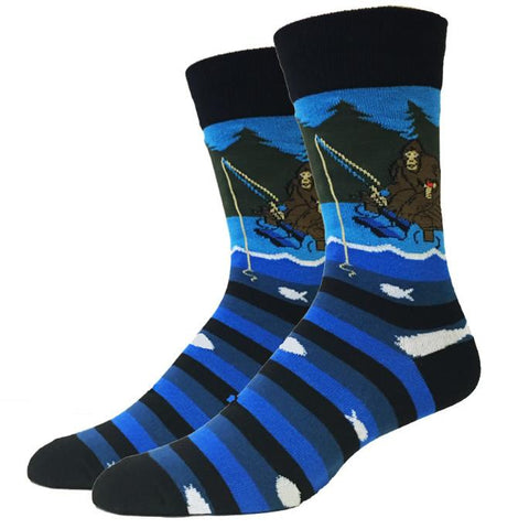 Fishing Bigfoot Men's Crew Socks