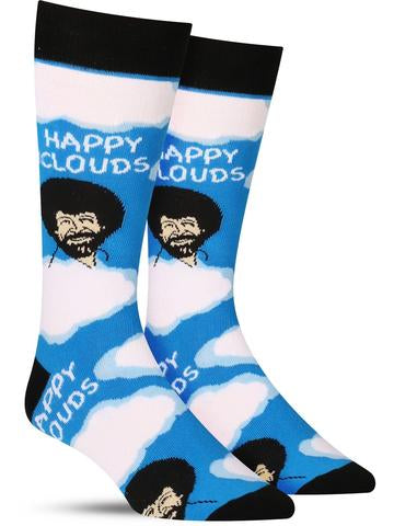 Bob Ross Happy Clouds Men's Crew Socks