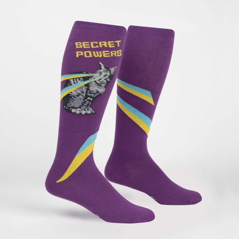Cat Secret Powers (Purple) Stretch-It Knee Highs