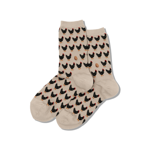 Chicken and Egg (Taupe) Women's Crew Socks