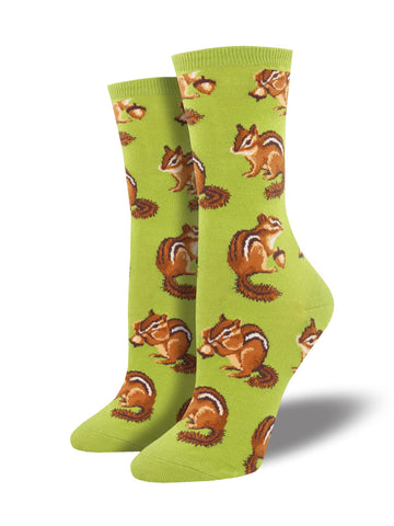 Chipmunk Cheeks (Green) Women's Crew Sock