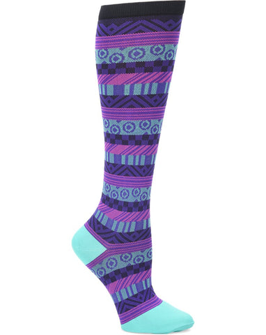 Comfortiva Fun Stripe (Turquoise/Purple) Compression Socks