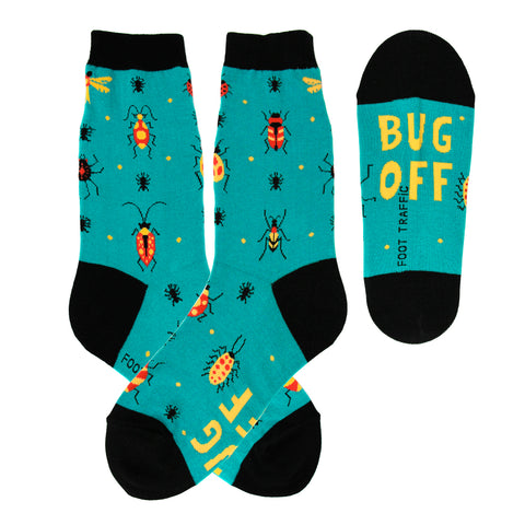 Bug Off! Insects (Turquoise) Women's Crew Socks