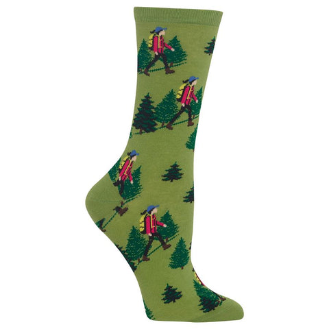 Hiker Girl (Green) Women's Crew Socks