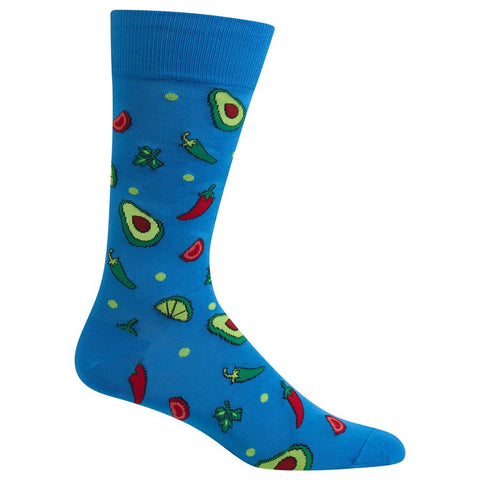 Avocado Chili Lime (Blue) Men's Crew Socks
