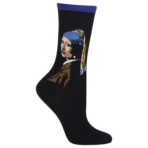 Girl with the Pearl Earring (Purple) Women's Crew Sock