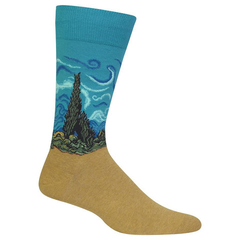 Wheat Field with Cypress (Teal) Men's Crew Sock