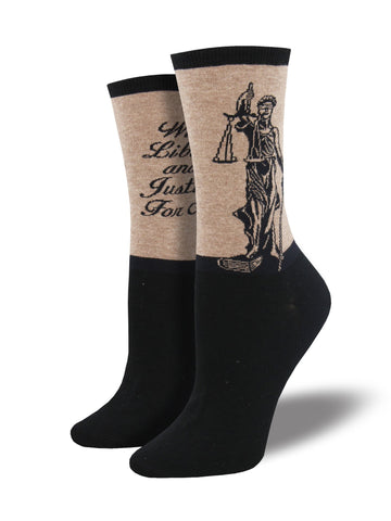Lady Justice (Brown Heather) Women's Crew Socks