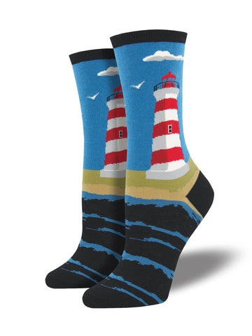 Downeast Lighthouse (Coastal Blue) Women's Crew Socks