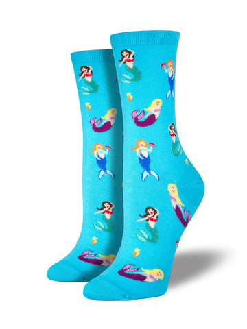 Mermaid Lagoon (Blue) Women's Crew Socks