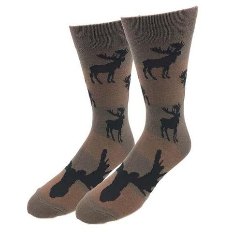 Moose Silhouette Men's Crew Socks